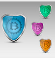 shield with bitcoinemblem vector image vector image