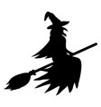 silhouette a witch on a broomstick on halloween vector image vector image