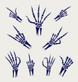 skeleton hands signs on grey background vector image vector image