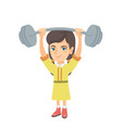 strong caucasian girl lifting heavy weight barbell vector image vector image