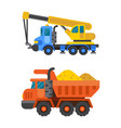 tipper truck and construction crane industry vector image vector image