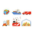 warehouse cargo transportation logistics and vector image vector image