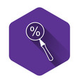 white magnifying glass with percent discount icon vector image vector image