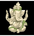 white statue an elephant with grass vector image