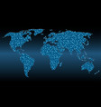 world map with triangular mesh and glowing dots vector image vector image