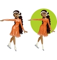 Cute young African American woman figure skater vector image