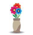 flowers and vase composition isolated on white vector image