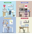 design concept for working places Set of vector image