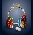 round casino roulette golden frame with crown vector image