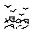 building smog and birds thin line icon vector image vector image