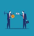 businessman exchange bitcoin cryptocurrency vector image
