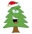 Cartoon Christmas Tree With Santa Hat vector image vector image