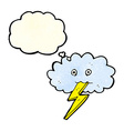 cartoon lightning bolt and cloud with thought vector image vector image