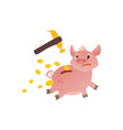 cartoon piggy bank run away from hummer vector image vector image