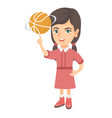 caucasian girl spinning basketball ball on finger vector image