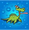 childrens dinosaur in a scarf vector image vector image