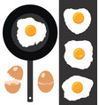 collection cracked eggs fried eggs and frying vector image vector image