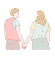 couple man and woman in love holding hands walking vector image