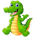 Cute crocodile waving hand vector image vector image