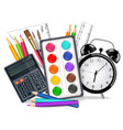 drawing supplies realistic alarm clock vector image vector image