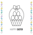 Easter basket with eggs flat icon vector image vector image