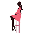 Fashionable pregnant woman sitting on the bar vector image vector image
