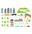 flat city map elements with urban transport vector image vector image