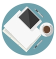 Flat icon for blogger work table vector image