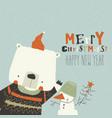 funny cartoon bear waving paw merry christmas vector image vector image
