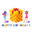 happy birthday greeting card gift box and woman vector image