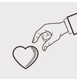 heart and hand line drawing image vector image vector image
