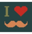 I Love Mustache Knitted vector image