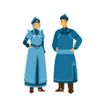 man and woman wearing traditional mongolian vector image vector image