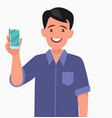 man is showing phone people and gadgets vector image