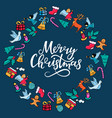 merry christmas hand lettering festive round vector image vector image