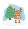 merry merry christmas card with reindeer and pine vector image