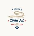 old wild eel beer pub abstract sign symbol vector image vector image