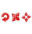 red shiny arrows direction 3d signs vector image