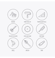 Scissors paint roller and repair tools icons vector image vector image