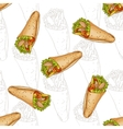 Seamless pattern burrito scetch and color vector image vector image