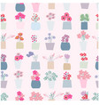 seamless pattern flower pot vector image vector image