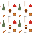 seamless pattern with lumberjack icons mustache vector image