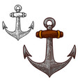 set anchor in engraving style design vector image vector image