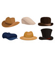 set different mens hats on vector image vector image