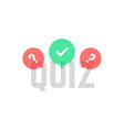 simple quiz logo with transparent bubbles vector image