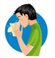 Sneezing man eps10 vector image vector image