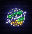 st patricks day is a neon sign symbol logo vector image