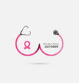 stethoscope and breast iconbreast cancer october vector image vector image
