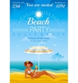 Sunny day beach background with beautiful girl vector image vector image