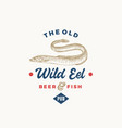 the old wild eel beer pub abstract sign symbol or vector image